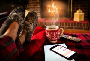 暖炉とコーヒー