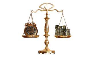 残業 天秤 時計